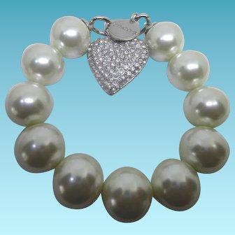 Unworn Vintage Chicos Rhinestone Heart Faux Pearl Chunky Bracelet in Original Packaging