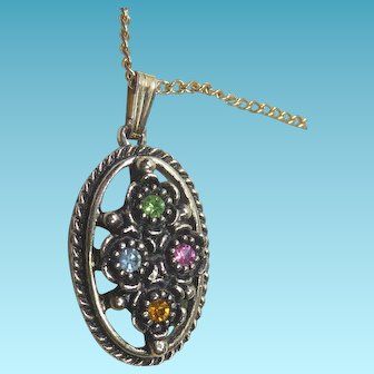 Signed Emmons Vintage Necklace With Multi Colored Crystal Pendant