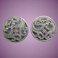 Tribal Sterling Silver Signed BA SUARTI Earrings Granulated Disk Shape 925