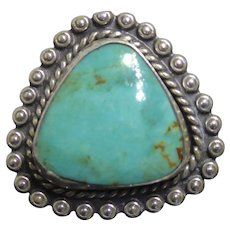 Older Vintage Signed Bell Trading Post Sterling Silver Turquoise Ring With Triangle Shape Stone Size 6.5