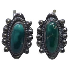 Older Vintage Native American Silver Earring With Green Stones