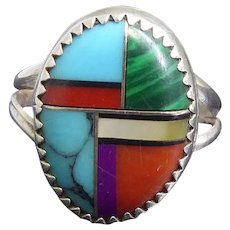 Native American Zuni Sterling Silver & Faux Inlaid Stone Ring Size 8