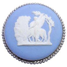 """Sterling Silver & Blue Jasperware Wedgwood Brooch """"Bellerophon Watering Pegasus below Parnassus"""" Frederick Charles Welch"""