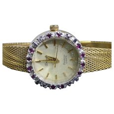 Pretty Vintage Armitron Deauville Wristwatch With Ruby Enhanced Bezel & Fancy Textured Band