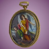 Large Antique Hand Painted Religious Pendant  Jesus In Garden of Gethsemane & Saint Odilo - Est All Soul's Day