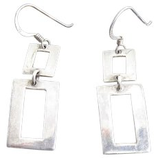 Sterling Silver Dangling Open Rectangle Earrings Signed MO 925 - Red Tag Sale Item