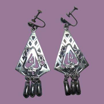 Older Vintage Mexican Sterling Silver Dangle Earrings Signed BSP - Cuernavaca