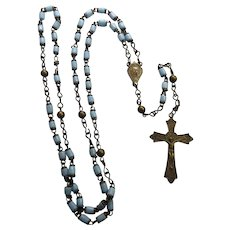 Older Blue Glass Bead Rosary From Rome Italy - Circa 1920 Missing One Bead