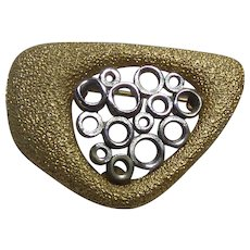 Modernist Signed Hobe Two Tone Dual Textured Brooch With Center Circles