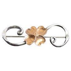 Vintage Sterling Silver & Copper Dogwood Flower Brooch By Stuart Nye