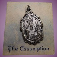 Vintage Assumption Medal On Original Card Graymoor NY Blessed By A Friar Priest