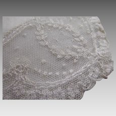 Beautiful Antique White Handkerchief With Hand Made Lace Border