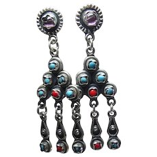 Vintage Taxco Mexican Sterling Silver Dangling Earrings With Amethyst and Blue & Red Stones Signed TR-133
