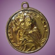 Antique Catholic Religious Medal St Christopher Zodiac Symbols & Early Automobile
