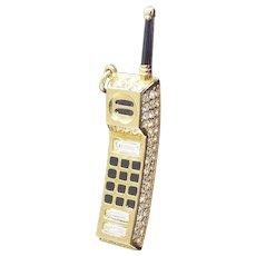 Rare Signed Swarovski Crystal Enamel Mobile Phone Cell Phone Pendant Swan Signed