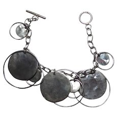 Lovely Sterling Silver Bracelet With Circle & Hammered Disks Charms