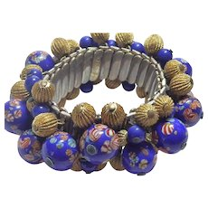 Millefiori and Textured Golden Bead Cha Cha Stretch Bracelet Signed Japan
