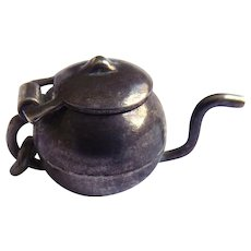 Older 3D Charm - Sterling Silver Teapot Charm - Opens!