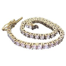 Beautiful Gold Over Sterling Silver CZ Tennis Bracelet - Sparkly! - Red Tag Sale Item