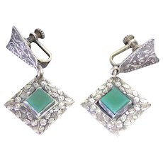Lovely & Different!  Pre Eagle 900 Silver Mexican Earrings With Flower Design and Green Glass Centers Signed FO