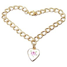 Exceptionally Sweet Golden Charm Bracelet With Enamel Rose Charm