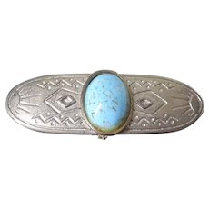 Large Funky Southwestern Brooch - Faux Turquoise and Native American Sun & Water Symbols