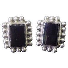 Older Vintage DF Mexican Sterling Silver Earrings Beaded Rectangles With Black Centers Signed RRF