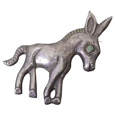 Large Older Vintage Silver Made In Mexico Burro or Donkey Brooch - Mexican Sterling Silver With Green Stone Eye