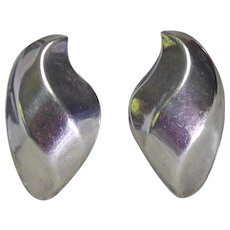 "Vintage Taxco Mexican Sterling Silver Wave Earrings - Large 1.78"" x 1"""