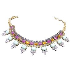Designer J Crew Crystal Statement Necklace With Purple Amber Blue & Clear Crystals & Teal Resin Stones