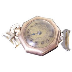 Antique Art Deco Era Ladies Octagon Pendant / Early Wrist Watch 15 Jewels 3 Adjustment Swiss Not Working