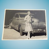 Dated 1950 Small Black & White Photograph Thiensville WI Woman With Dog In Front Of Vintage Dodge Automobile