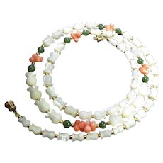 "Exquisite Mother of Pearl, Jade & Coral Necklace - 25"" Long With Round, Toggle & Tulip Shaped Beads"