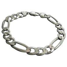 """Italian Sterling Silver Figaro Chain Bracelet Big Chain - 9.25"""" Long 10.5mm Wide 34 Grams!"""