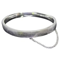 Sterling Silver Hinged Bangle Bracelet Signed BAB (Ballou) Brushed Finish Safety Chain