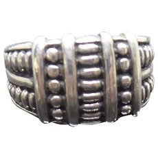 Sterling Silver 925 Vintage Band Ring With Beaded Design - Size 8