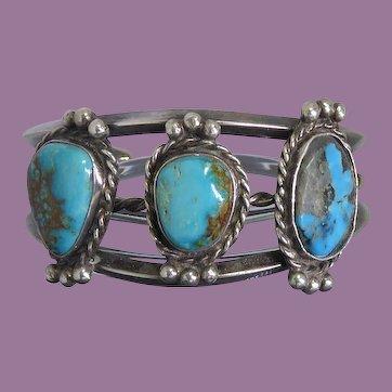 Older Vintage Native American Silver Bracelet 3 Turquoise Stones