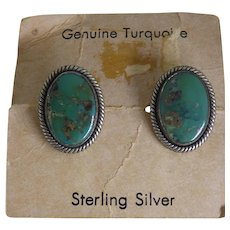 Fred Harvey Era Native American Cufflinks Sterling Turquoise on Orig Card From Sunland Trading Post