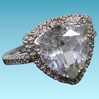 Beautiful Sterling Silver & White Topaz Triangle Halo Ring Signed TJ - Size 7.5