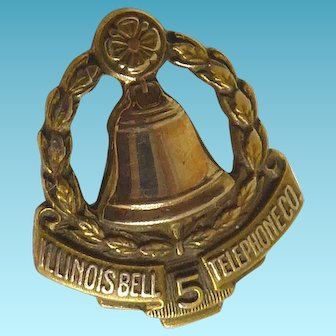 Signed LGB X Balfour Illinois Bell Telephone 5 Year Service Pin Circa 1940