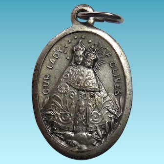 Vintage Italian Our Lady Of Olives Pray For Us Catholic Religious Medal - Signed Italy