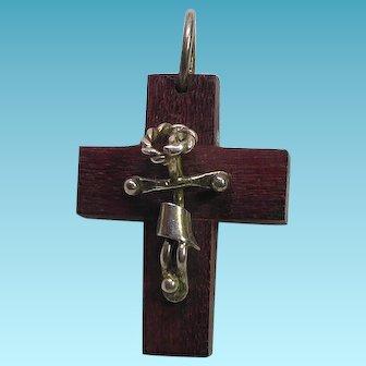 Unique Modernist Wood & Sterling Silver Crucifix Cross Pendant