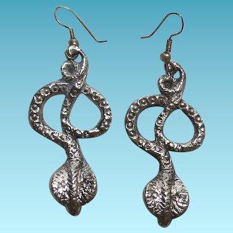 Vintage Sterling Silver Dangling Cobra Snake Earrings