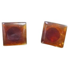 Small Brown Square Post Earrings Backs Are Marked 14k