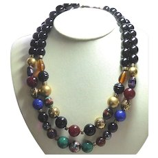 Big Bold Beautiful Double Strand Bead Necklace With Colorful Cloisonne Art Glass, Black & Metal Beads