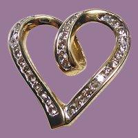 Sweetheart of a Pendant! 10K Gold & Diamond Floating Heart Pendant
