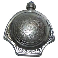 Vintage Mexican Sterling Silver Perfume Snuff Bottle With Aztec Calendar Signed Ormex Guad Eagle 21