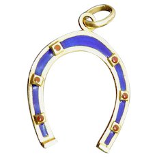 Italian 18K Gold & Enamel Horse Shoe Pendant Signed FABOR and Marked 39 AR 750