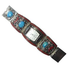 Big Bold Native American Sterling Turquoise Coral Watch Band - Hand Signed Al Charley