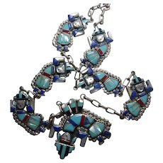 Beautiful Signed Native American Zuni Rainbow Man Necklace Sterling Silver With Inlaid Stone